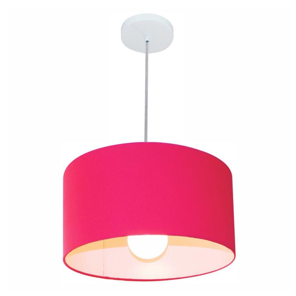 Kit/6 Lustre Pendente Cilíndrico Md-4031 Cúpula em Tecido 40x21cm Rosa Pink - Bivolt