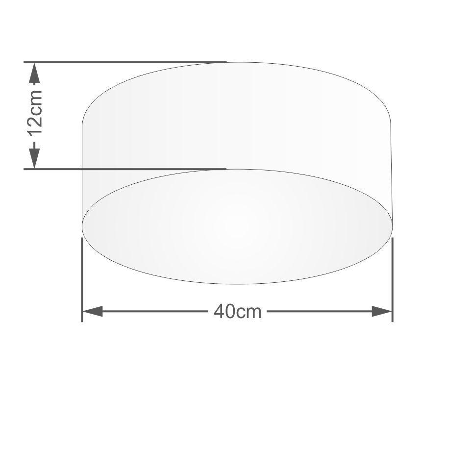 Kit Plafon Cilíndrico Md-3005 e Pendente Md-4009 Cúpula em Tecido 40cm Algodão Crú - Bivolt