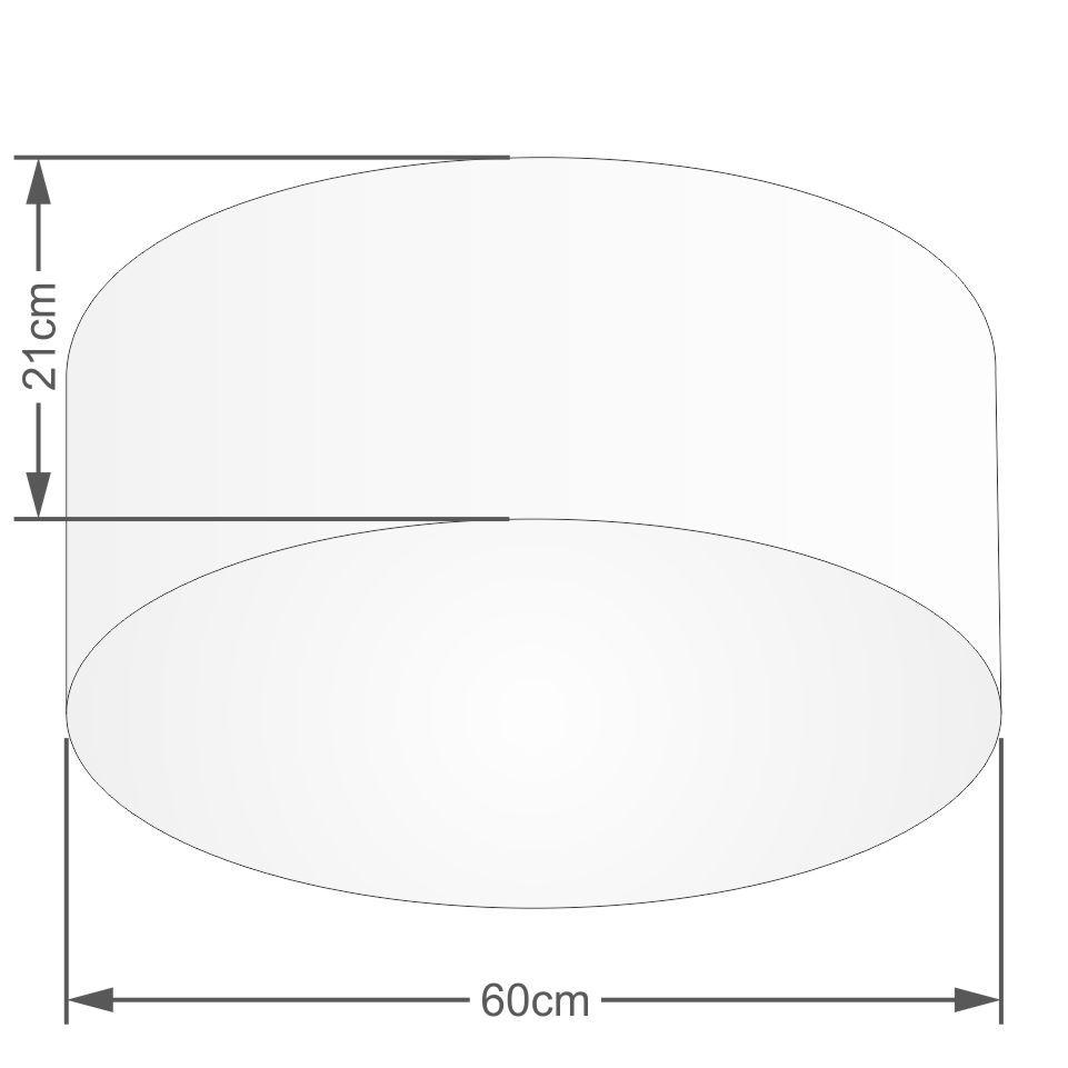 Kit Plafon Cilíndrico Md-3013 e Pendente Md-4010 Cúpula em Tecido 60cm Algodão Crú - Bivolt