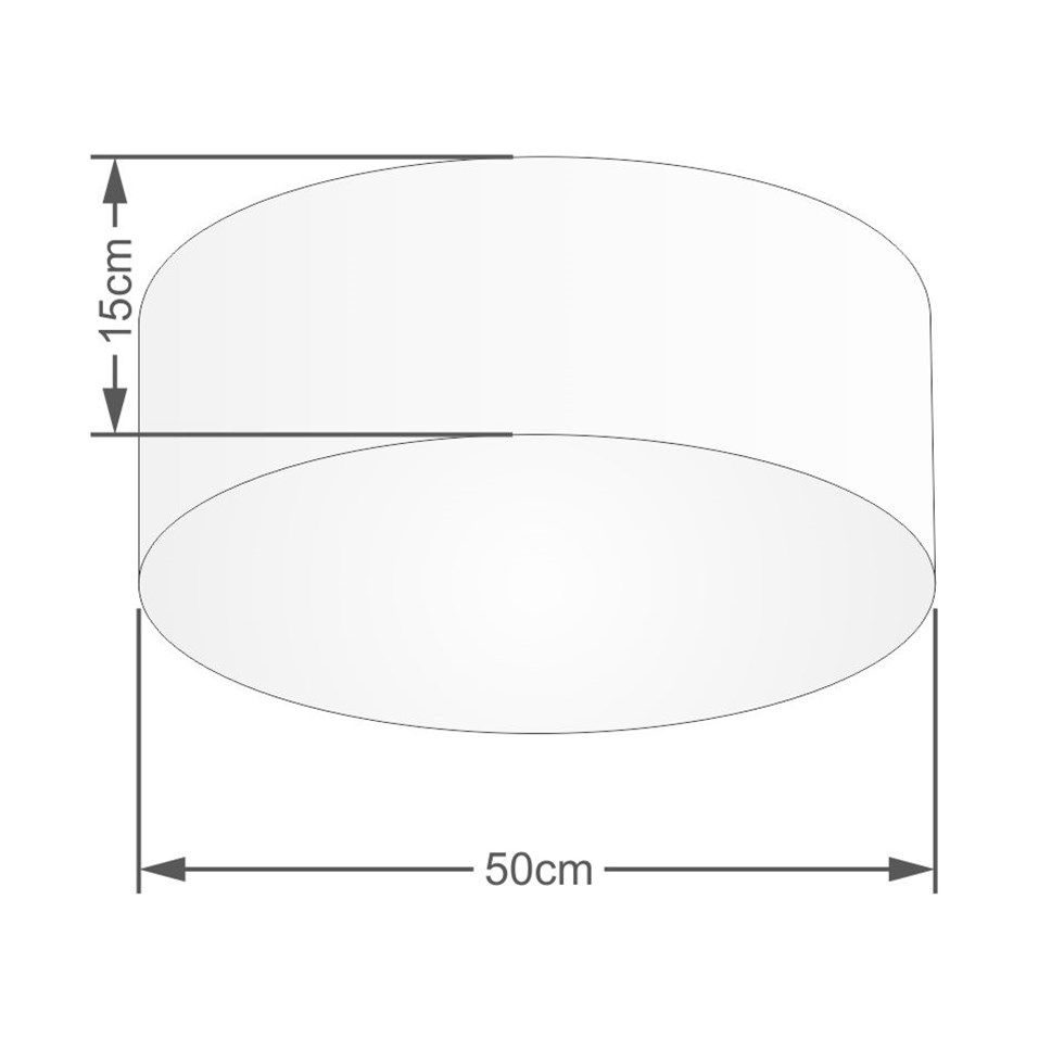 Kit Plafon Md-3014 Pendente Md-4049 Cúpula em Tecido 50cm Algodão Crú - Bivolt