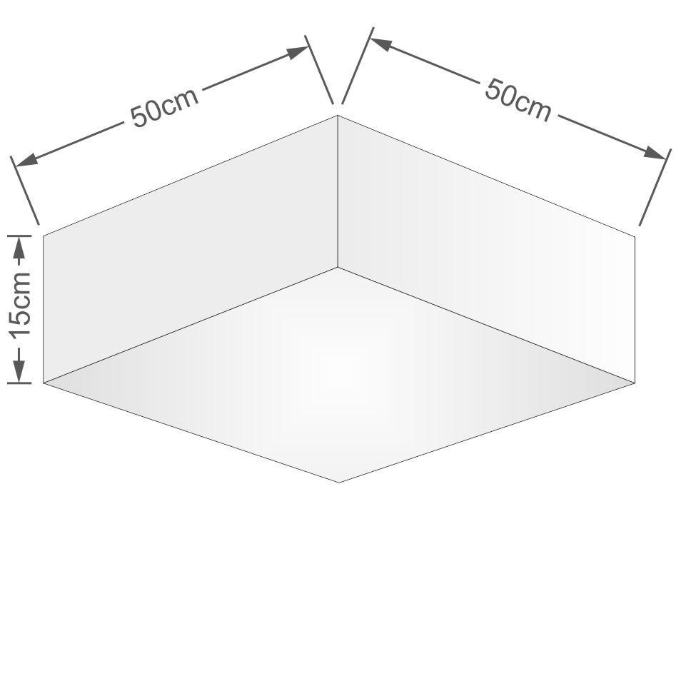 Kit Plafon Quadrado Md-3002 e Pendente Md-4032 Cúpula em Tecido 50x50cm Algodão Crú - Bivolt