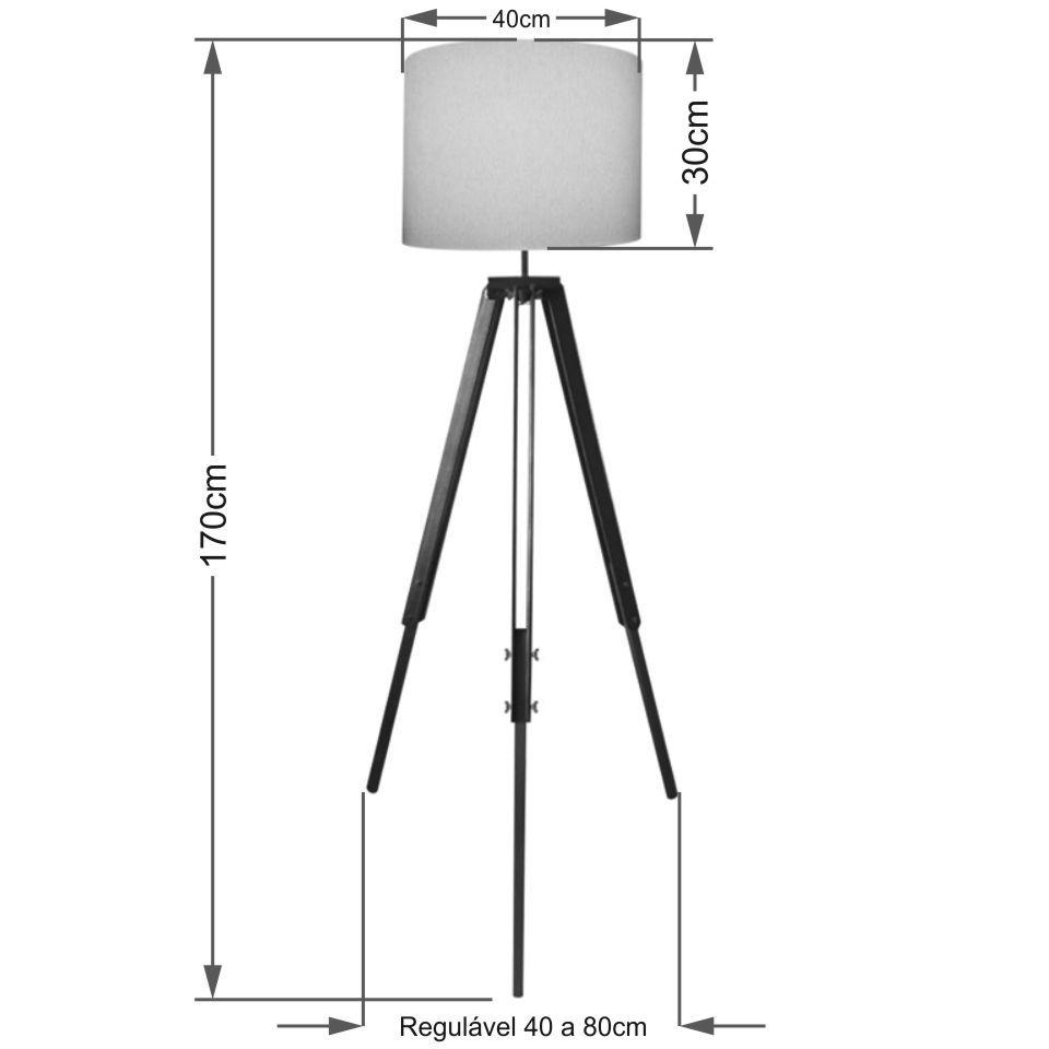 Luminaria Chao Tripe Madeira Md-2018 Cúpula em Tecido 40x30cm Branco - Bivolt