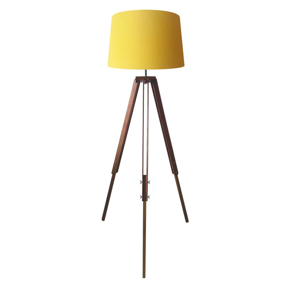 Luminaria Chao Tripe Madeira Md-2027 Cúpula em Tecido 30/40x45 Amarelo - Bivolt