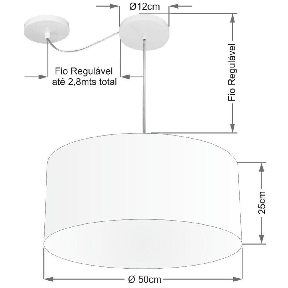 Lustre Cilíndrico C/ Desvio De Centro Md-4147 CúpulaTecido 50x25cm Algodão Crú - Bivolt