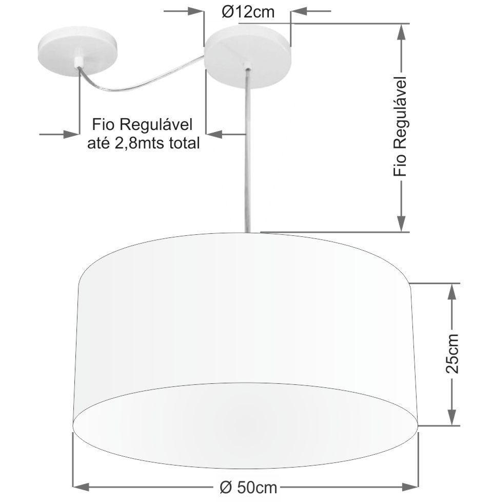 Lustre Cilíndrico C/ Desvio De Centro Md-4147 CúpulaTecido 50x25cm Branco - Bivolt