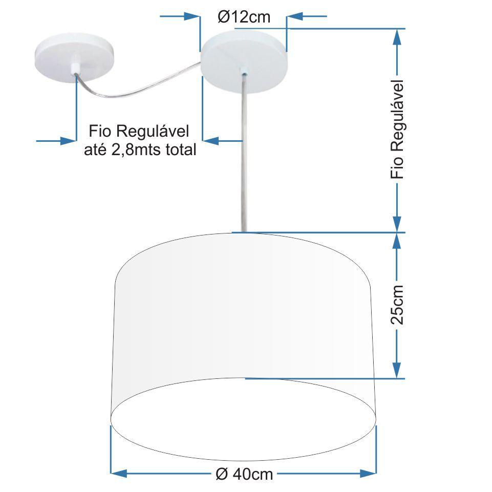 Lustre Cilíndrico C/ Desvio De Centro Md-4166 Cúpula em Tecido 40x25cm Linho Bege - Bivolt