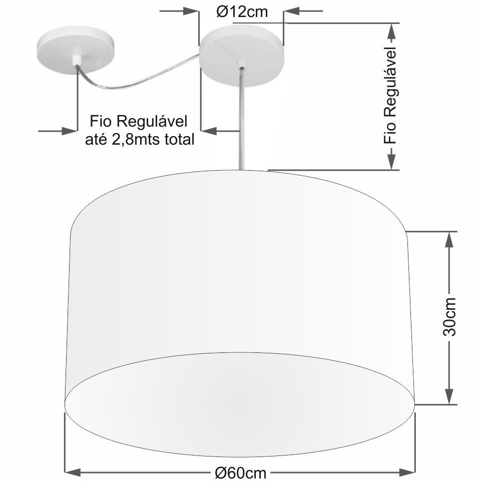 Lustre Cilíndrico C/ Desvio De Centro Md-4168 Cúpula em Tecido 60x30cm Branco - Bivolt