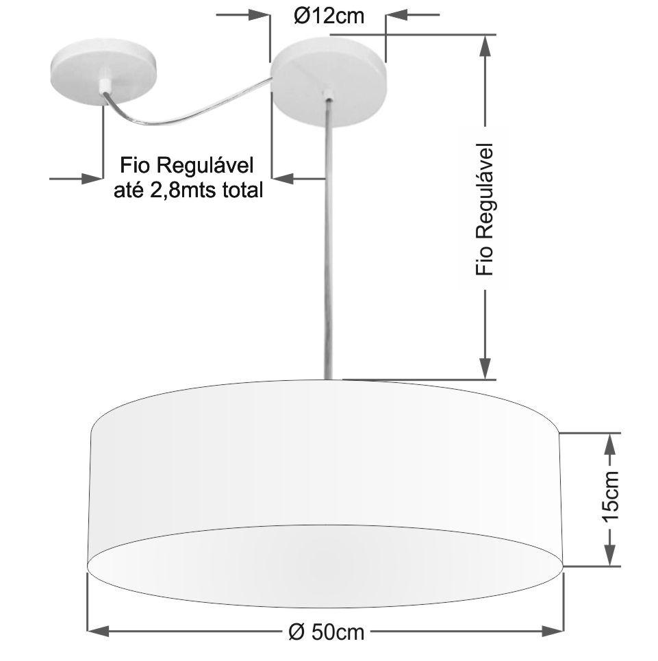 Lustre Cilíndrico C/ Desvio De Centro Md-4259 Cúpula em Tecido 50x15cm Rustico Cinza - Bivolt