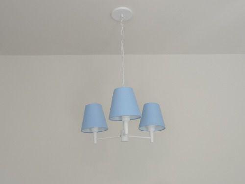 Lustre Pendente 3 Braços Md-5000-Branco Cúpula em Tecido 14/14x8cm Azul Bebê - Bivolt