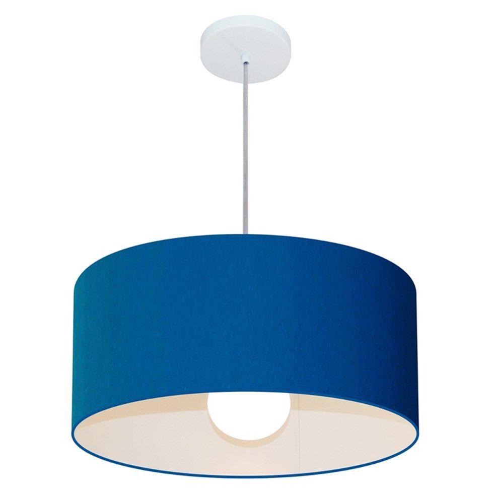 Lustre Pendente Cilíndrico 4052 Cúpula em Tecido 50x21cm Azul Marinho - Bivolt