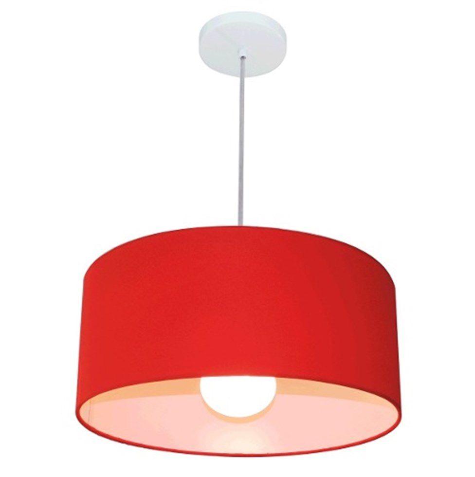 Lustre Pendente Cilíndrico 4052 Cúpula em Tecido 50x21cm Vermelho - Bivolt