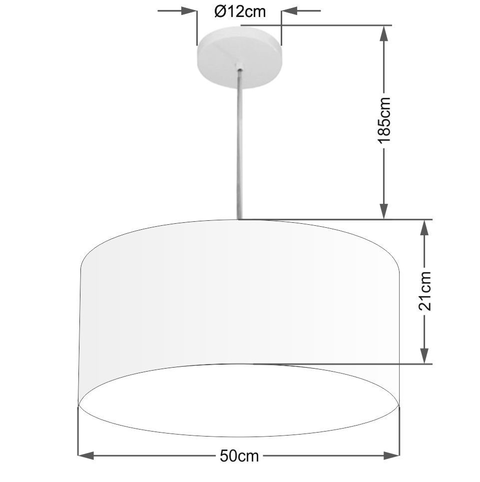 Lustre Pendente Cilíndrico 4052 Cúpula em Tecido 50x21cm Branco - Bivolt