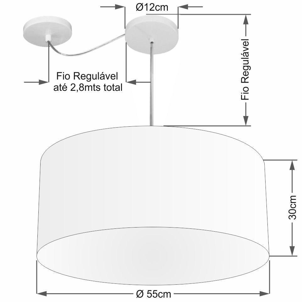 Lustre Pendente Cilíndrico Com Desvio de Centro Vivare Md-4253 Cúpula em Tecido 55x30cm - Bivolt