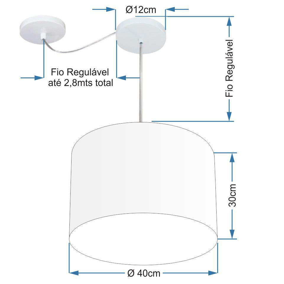 Lustre Pendente Cilíndrico Com Desvio Md-4227 Cúpula em Tecido 40x30cm Rustico Cinza - Bivolt