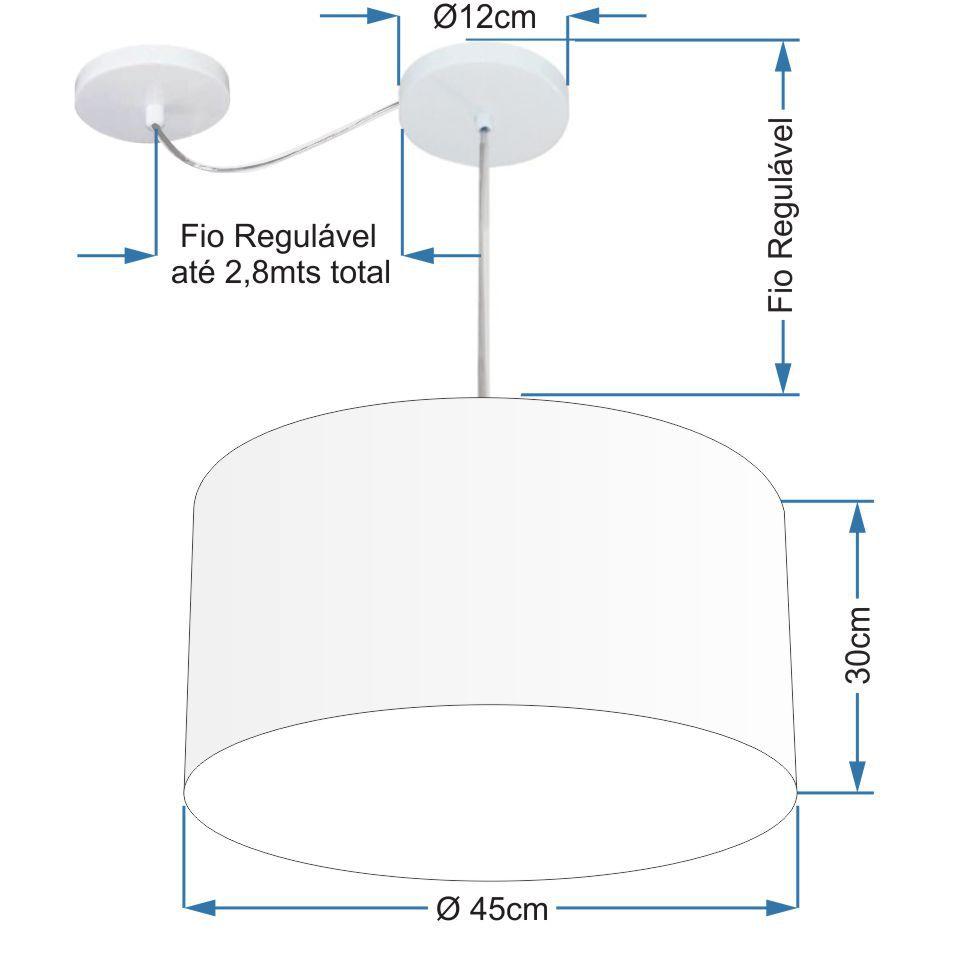 Lustre Pendente Cilíndrico Com Desvio Md-4229 Cúpula em Tecido 45x30cm Rustico Cinza - Bivolt