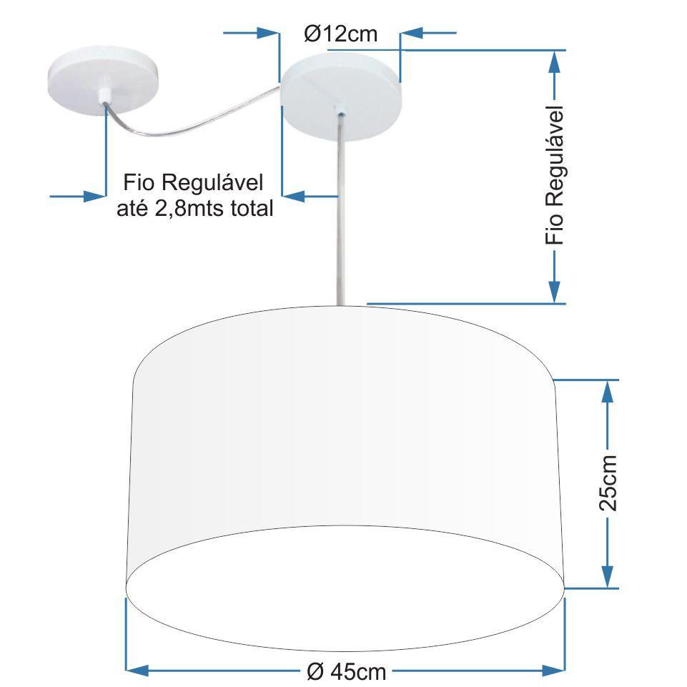 Lustre Pendente Cilíndrico Com Desvio Md-4238 Cúpula em Tecido 45x25cm Rustico Bege - Bivolt