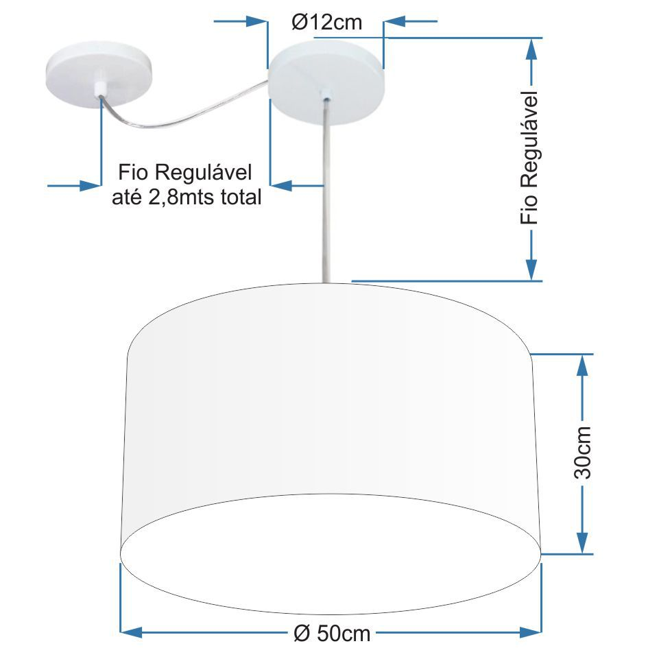 Lustre Pendente Cilíndrico Com Desvio Md-4251 Cúpula em Tecido 50x30cm Preto - Bivolt