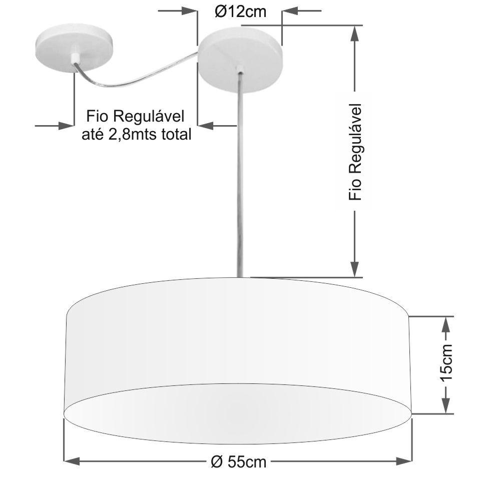 Lustre Pendente Cilíndrico Com Desvio Md-4262 Cúpula em Tecido 55x15cm Preto - Bivolt