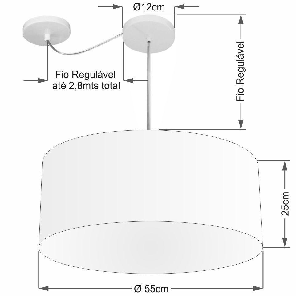 Lustre Pendente Cilíndrico Com Desvio Md-4263 Cúpula em Tecido 55x25cm Branco - Bivolt