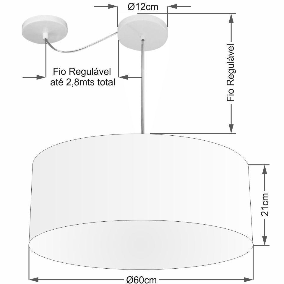 Lustre Pendente Cilíndrico Com Desvio Md-4266 Cúpula em Tecido 60x21cm Rustico Cinza - Bivolt