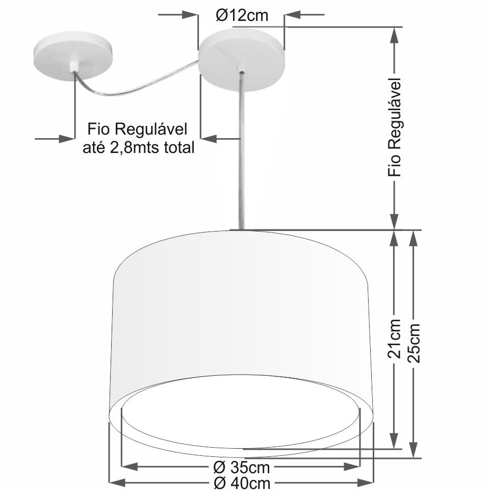 Lustre Pendente Cilíndrico Com Desvio Md-4305 Cúpula em Tecido 40x25cm Branco - Bivolt