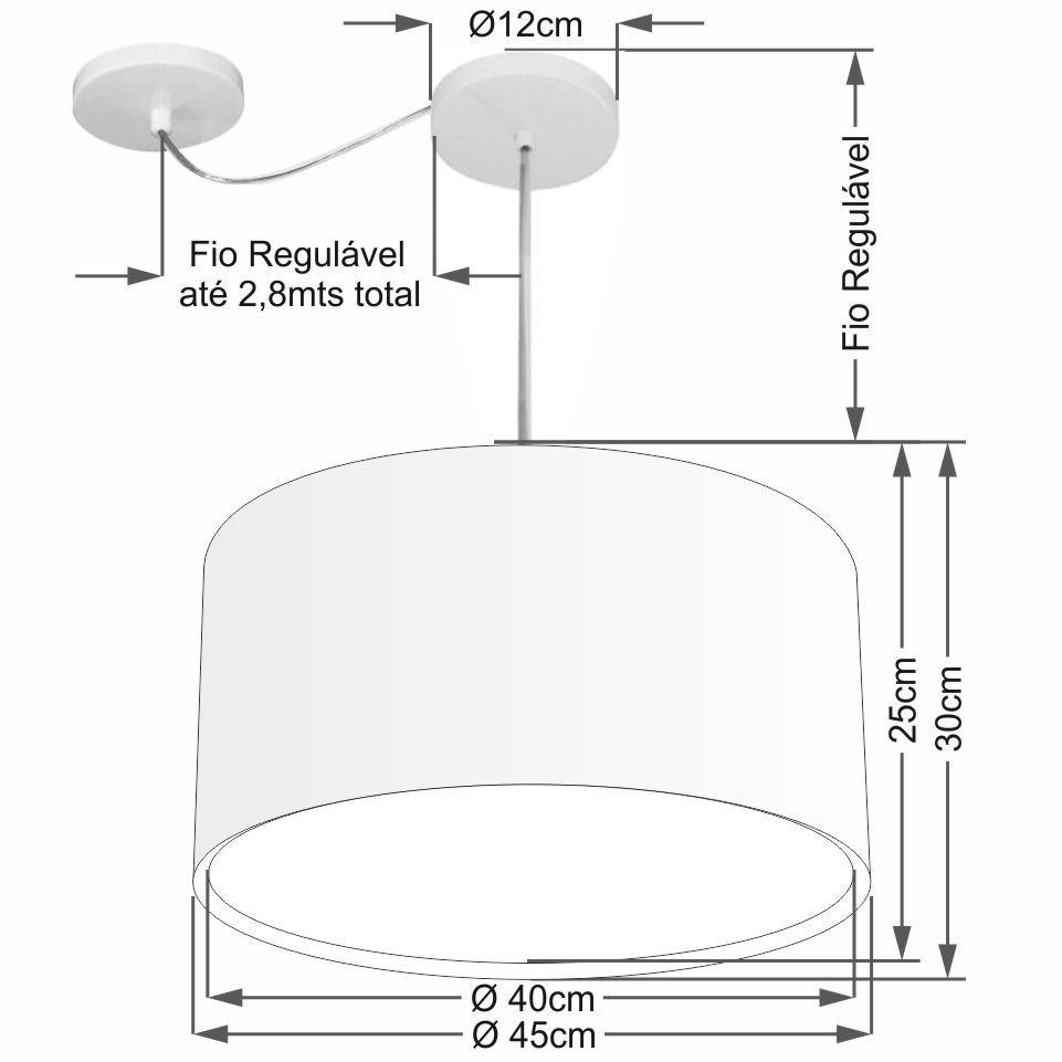Lustre Pendente Cilíndrico Com Desvio Md-4307 Cúpula em Tecido 45x30cm Branco - Bivolt