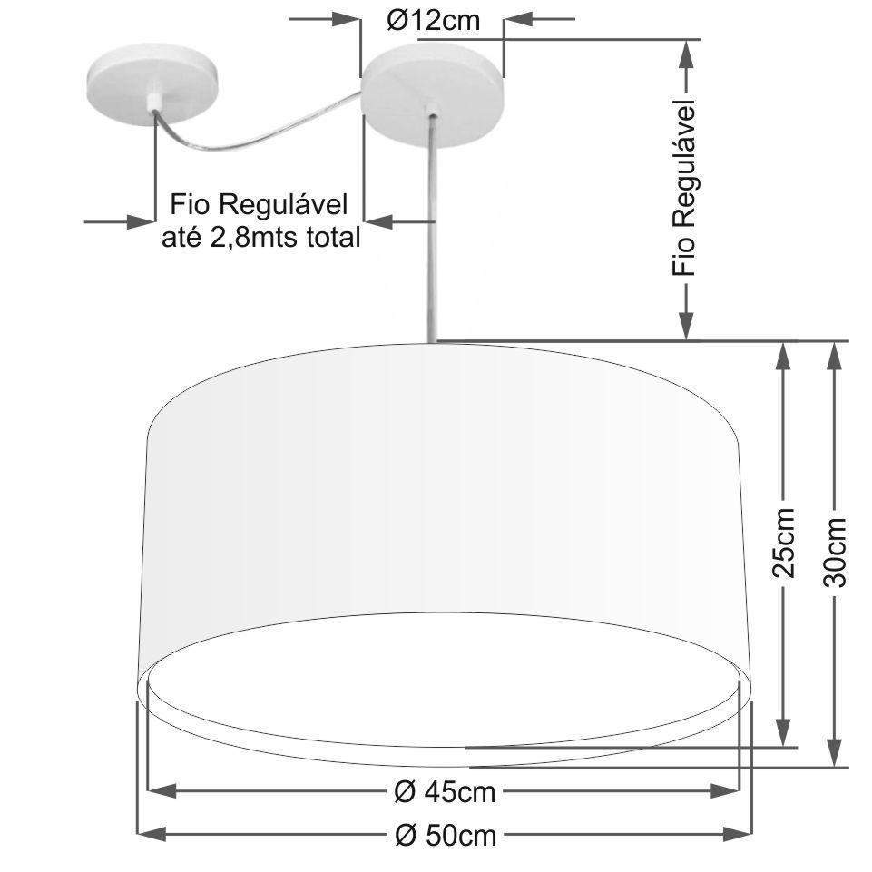 Lustre Pendente Cilíndrico Com Desvio Md-4308 Cúpula em Tecido 50x30cm Branco - Bivolt