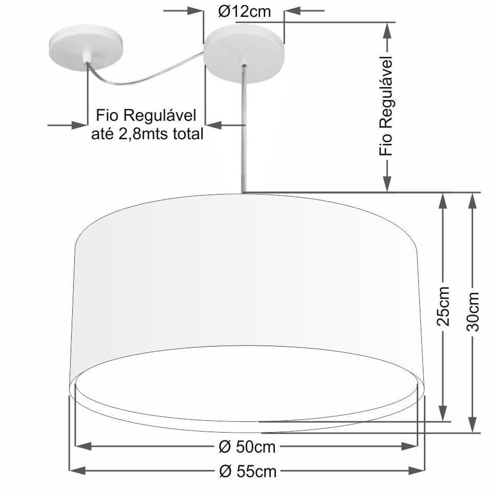Lustre Pendente Cilíndrico Com Desvio Md-4309 Cúpula em Tecido 55x30cm Preto - Bivolt