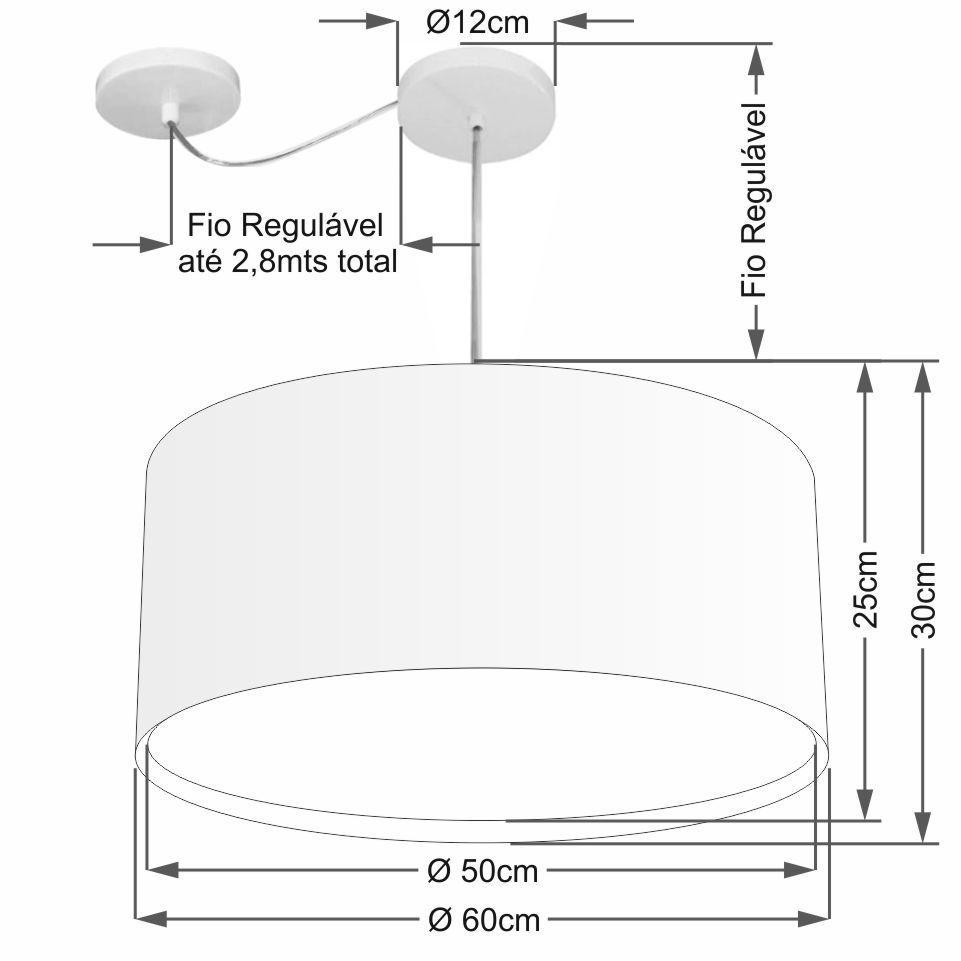 Lustre Pendente Cilíndrico Com Desvio Md-4311 Cúpula em Tecido 60x30cm Preto - Bivolt