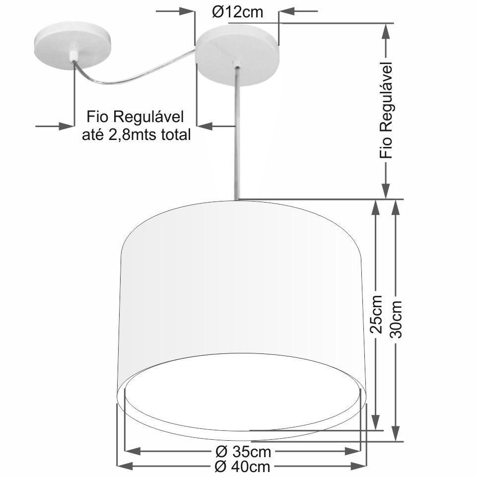 Lustre Pendente Cilíndrico Com Desvio Md-4312 Cúpula em Tecido 40x30cm Preto - Bivolt