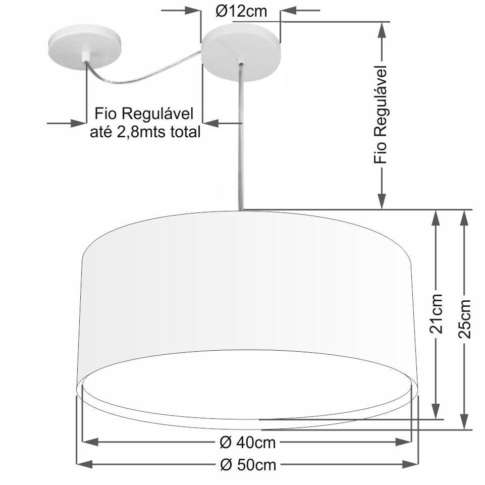 Lustre Pendente Cilíndrico Com Desvio Md-4314 Cúpula em Tecido 50x25cm Preto - Bivolt