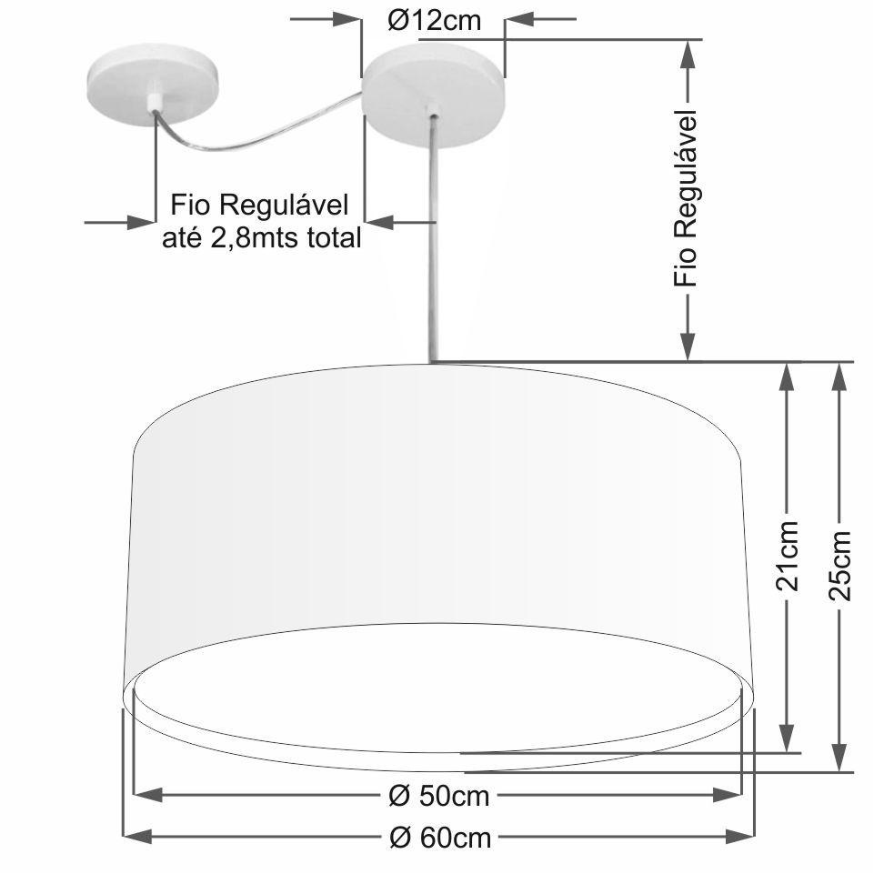 Lustre Pendente Cilíndrico Com Desvio Md-4317 Cúpula em Tecido 60x25cm Branco - Bivolt