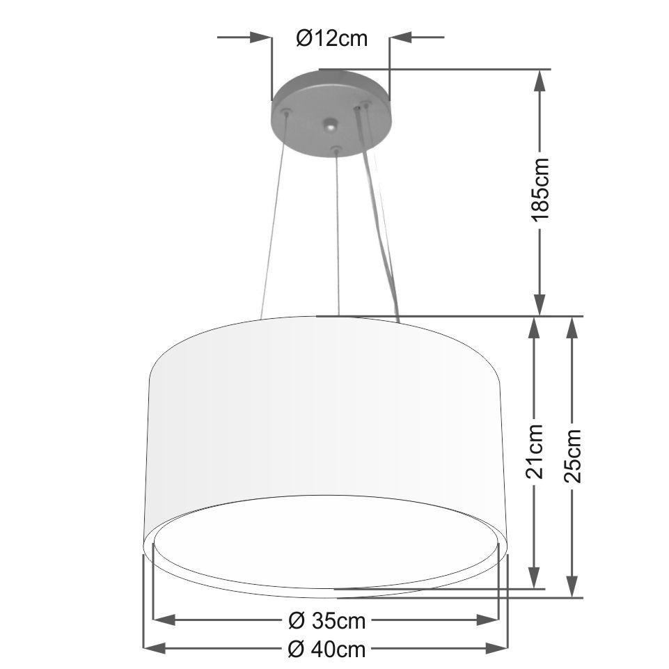 Lustre Pendente Cilíndrico Duplo Md-4123 Cúpula em Tecido 40x25cm Café - Bivolt