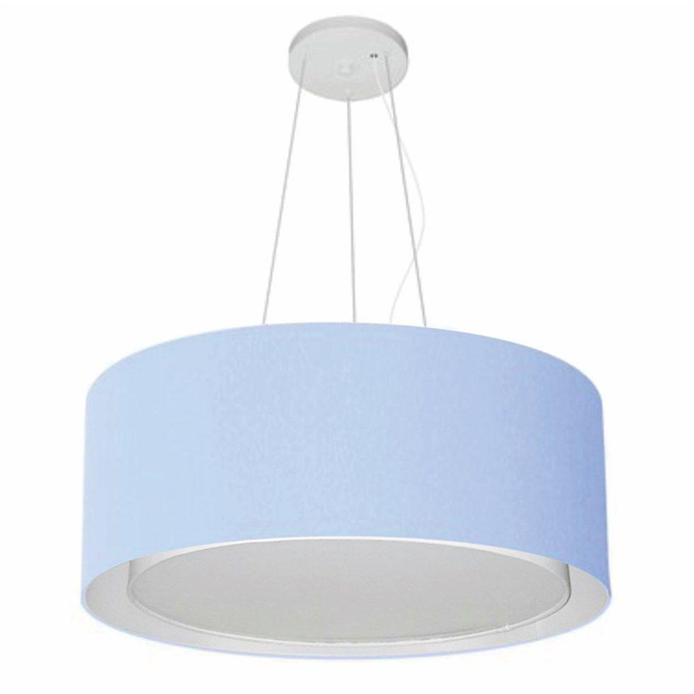Lustre Pendente Cilíndrico Duplo Md-4124 Cúpula em Tecido 50x25cm Azul Bebê - Bivolt