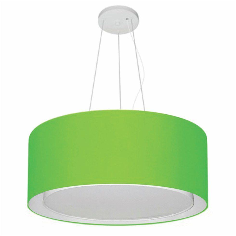 Lustre Pendente Cilíndrico Duplo Md-4124 Cúpula em Tecido 50x25cm Verde Limão - Bivolt