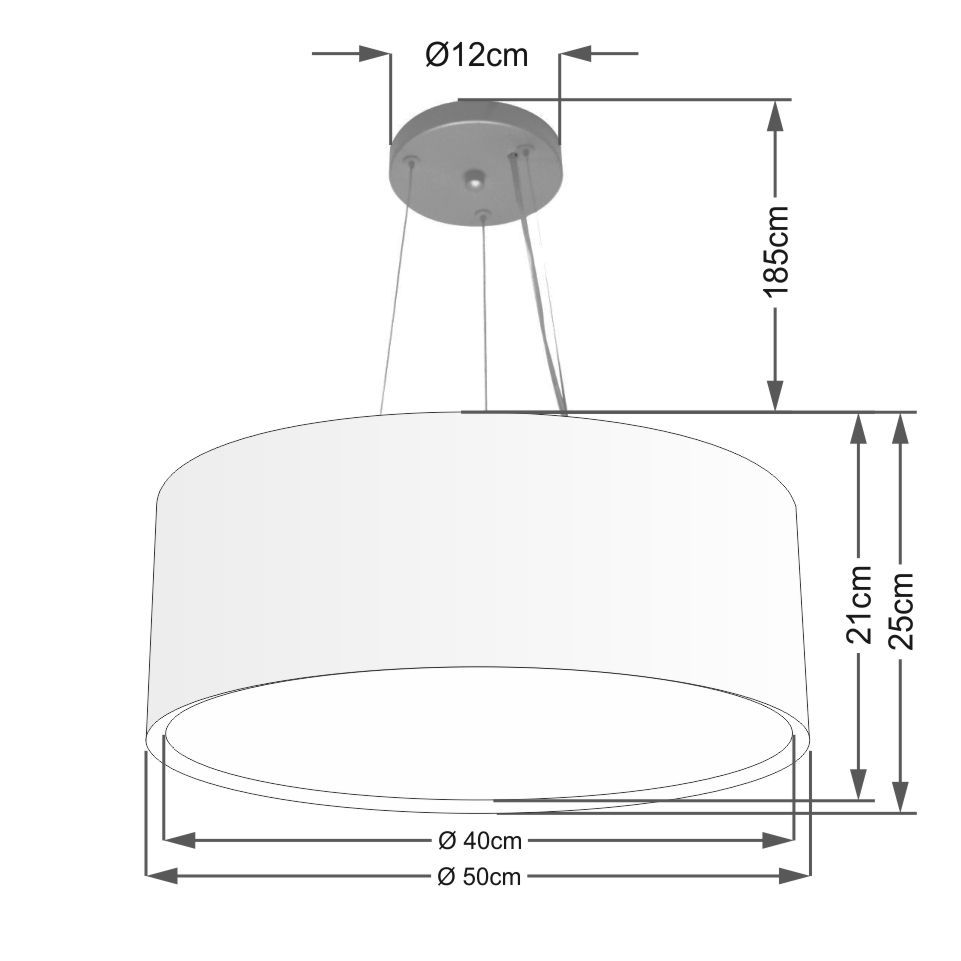 Lustre Pendente Cilíndrico Duplo Md-4124 Cúpula em Tecido 50x25cm Bordo - Bivolt
