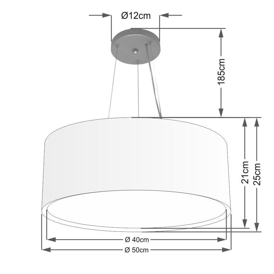 Lustre Pendente Cilíndrico Duplo Md-4124 Cúpula em Tecido 50x25cm Branco - Bivolt