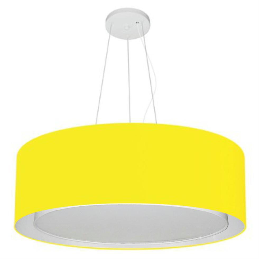 Lustre Pendente Cilíndrico Duplo Md-4125 Cúpula em Tecido 60x25cm Amarelo - Bivolt