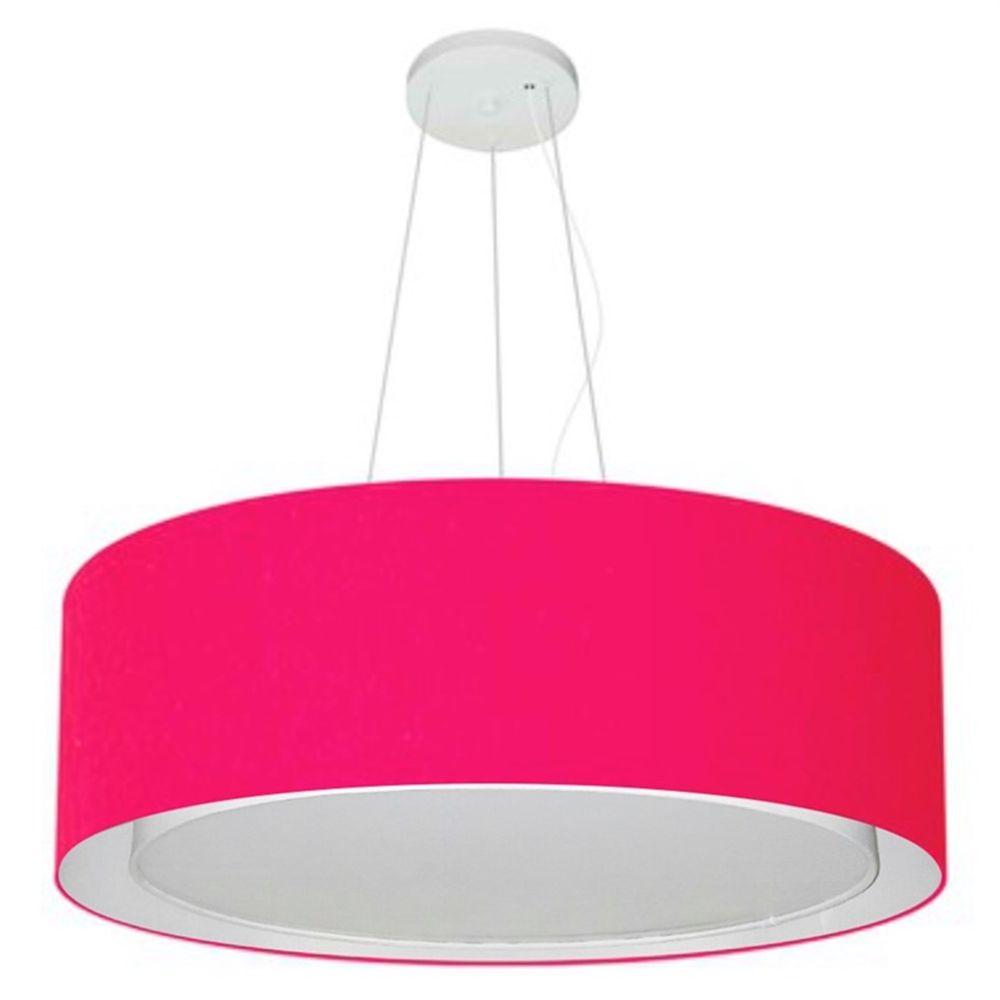 Lustre Pendente Cilíndrico Duplo Md-4125 Cúpula em Tecido 60x25cm Rosa Pink - Bivolt