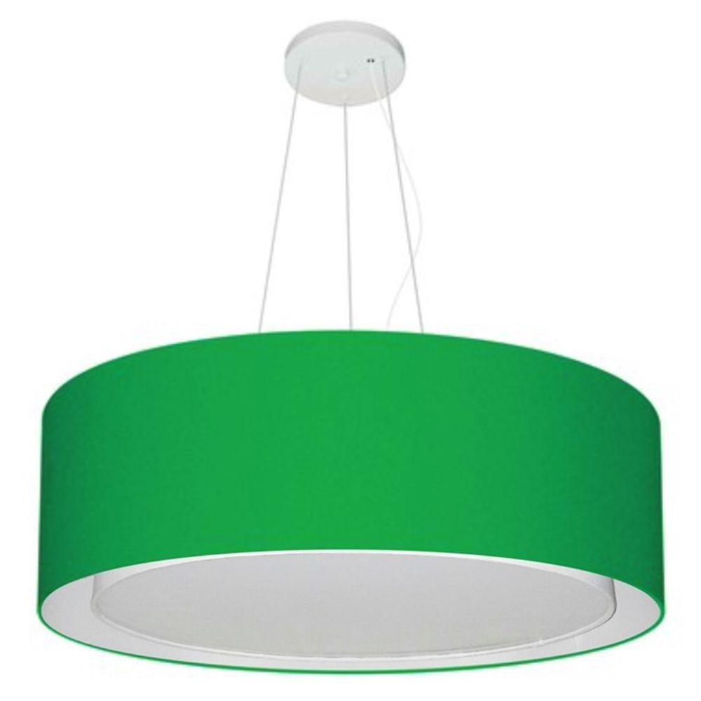 Lustre Pendente Cilíndrico Duplo Md-4125 Cúpula em Tecido 60x25cm Verde Folha - Bivolt