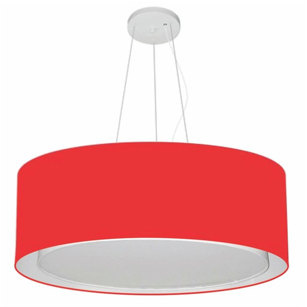 Lustre Pendente Cilíndrico Duplo Md-4125 Cúpula em Tecido 60x25cm Vermelho - Bivolt