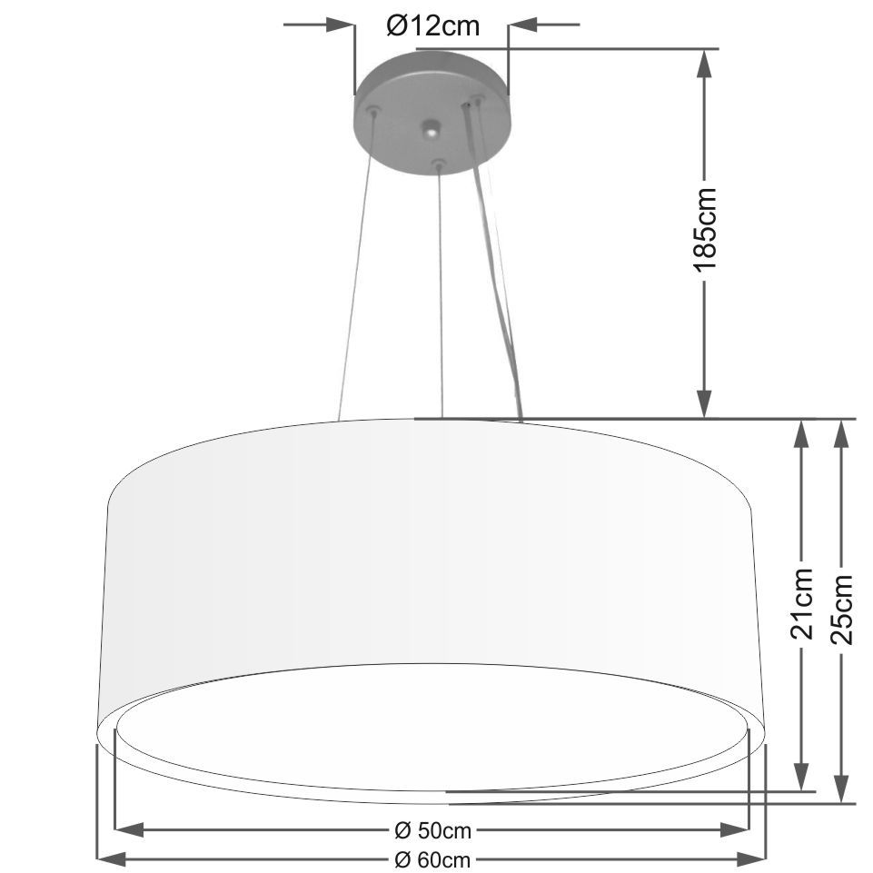 Lustre Pendente Cilíndrico Duplo Md-4125 Cúpula em Tecido 60x25cm Branco - Bivolt
