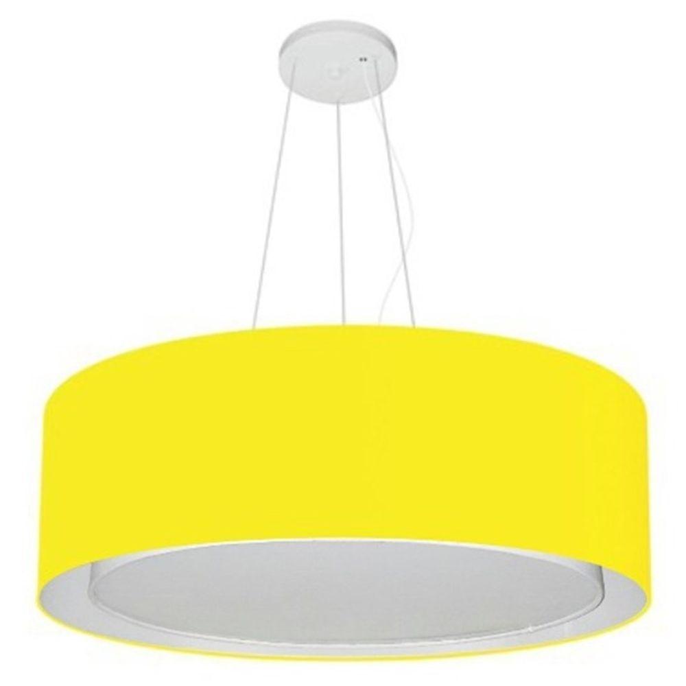 Lustre Pendente Cilíndrico Duplo Md-4126 Cúpula em Tecido 80x30cm Amarelo - Bivolt