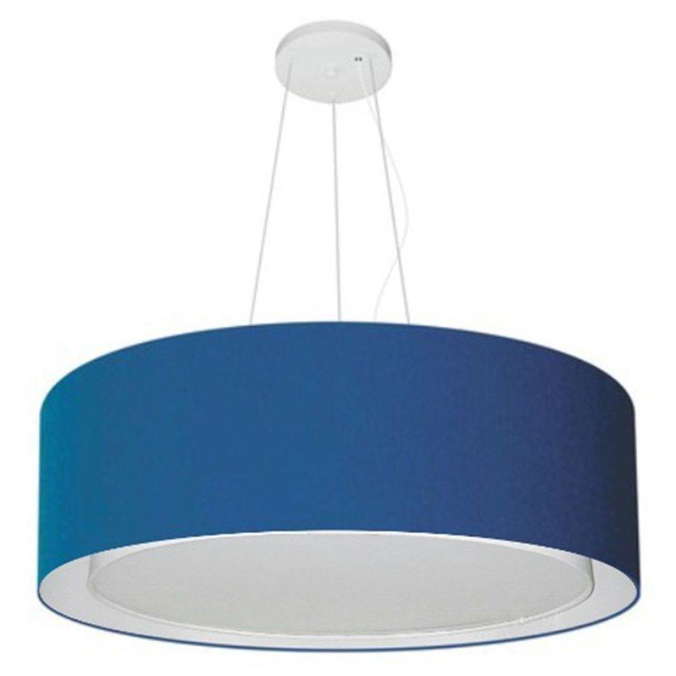 Lustre Pendente Cilíndrico Duplo Md-4126 Cúpula em Tecido 80x30cm Azul Marinho - Bivolt