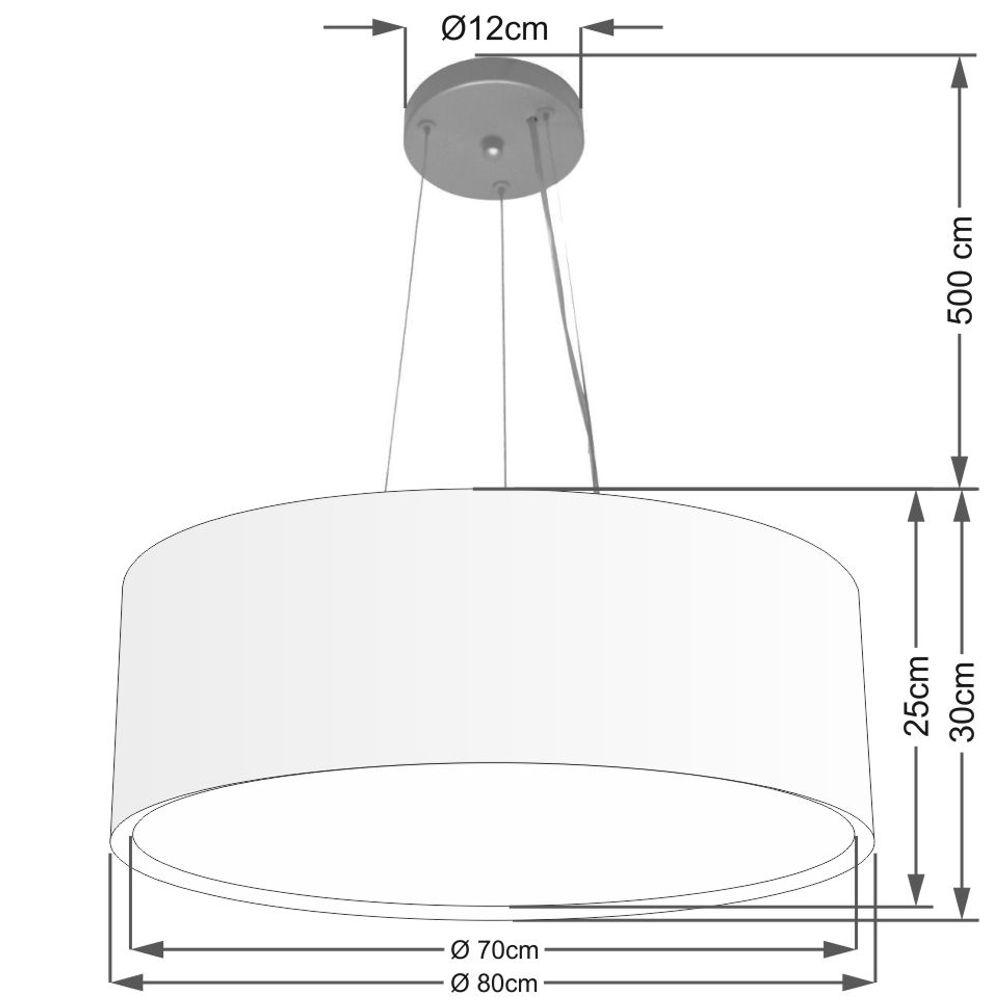 Lustre Pendente Cilíndrico Duplo Md-4126 Cúpula em Tecido 80x30cm Rustico Bege - Bivolt