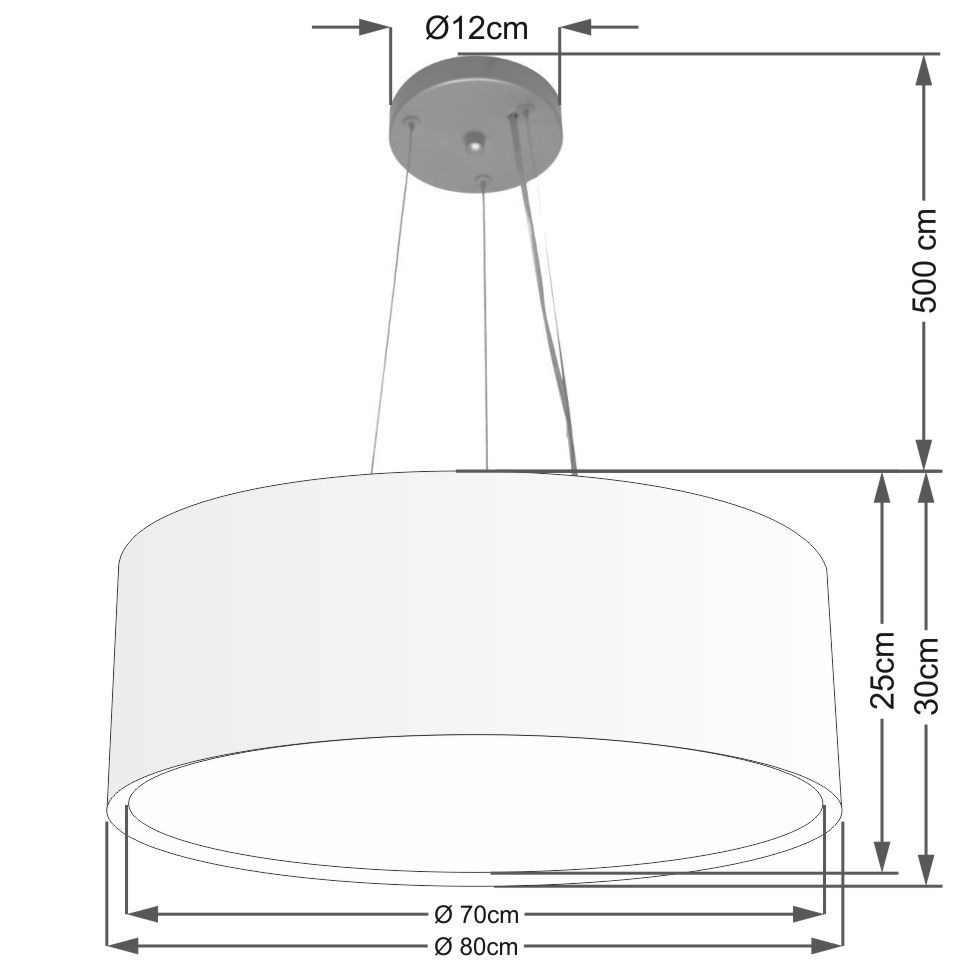 Lustre Pendente Cilíndrico Duplo Md-4126 Cúpula em Tecido 80x30cm Branco - Bivolt