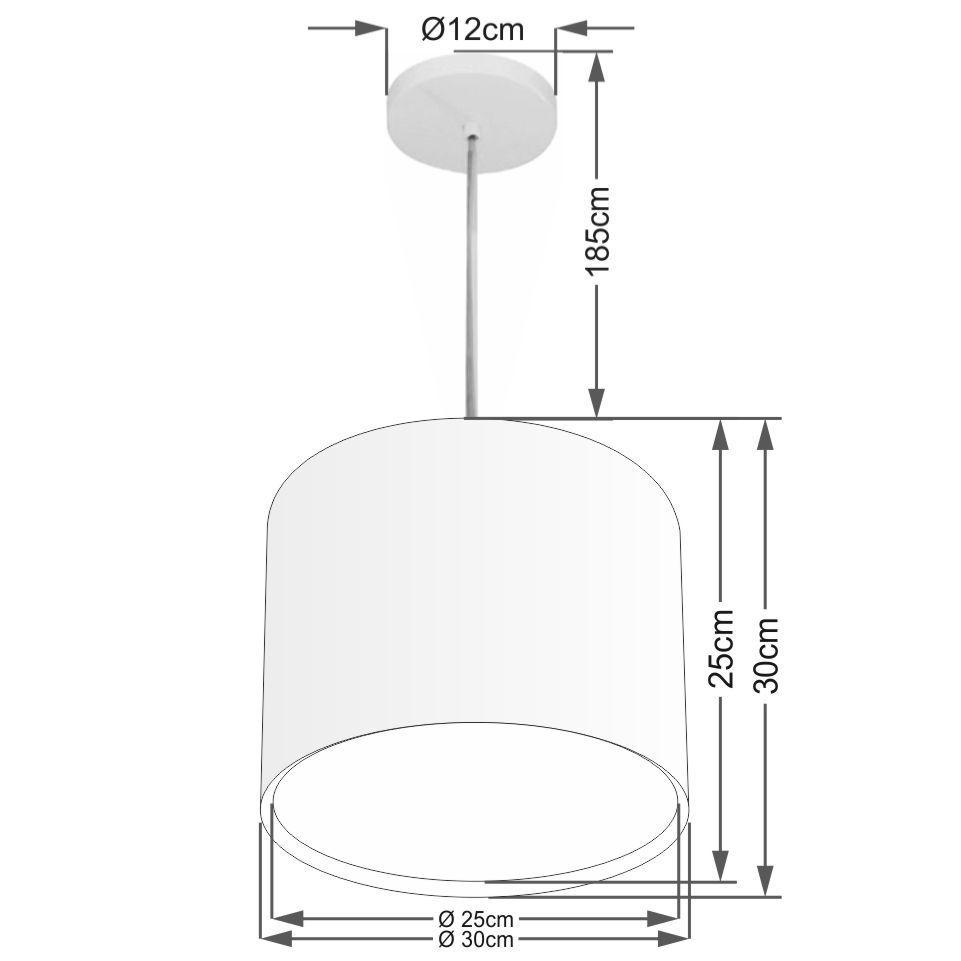 Lustre Pendente Cilíndrico Duplo Md-4284 Cúpula em Tecido 30x30cm Preto - Bivolt