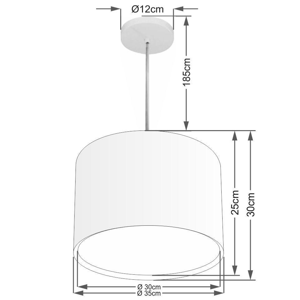 Lustre Pendente Cilíndrico Duplo Md-4285 Cúpula em Tecido 35x30cm Algodão Crú - Bivolt