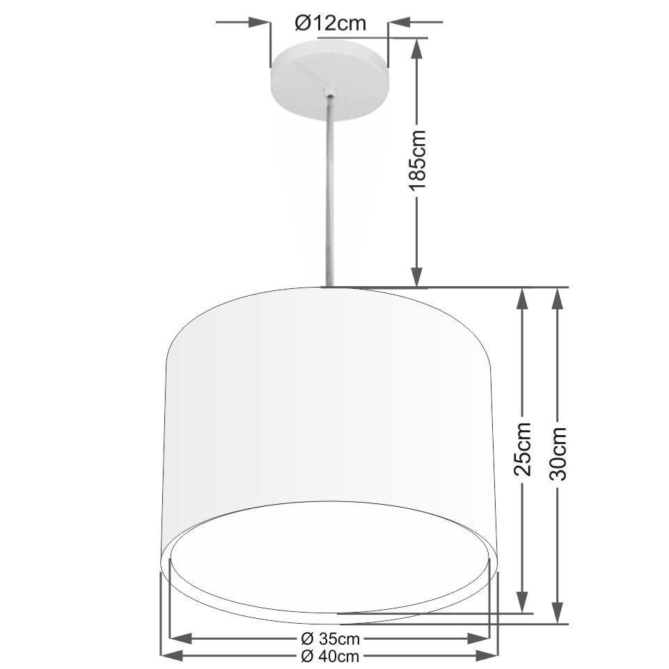 Lustre Pendente Cilíndrico Duplo Md-4286 Cúpula em Tecido 40x30cm Preto - Bivolt
