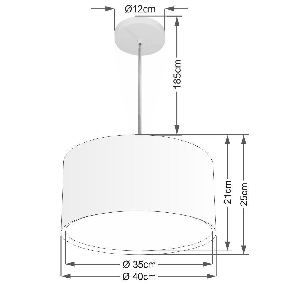 Lustre Pendente Cilíndrico Duplo Md-4290 Cúpula em Tecido 40x25cm Algodão Crú - Bivolt